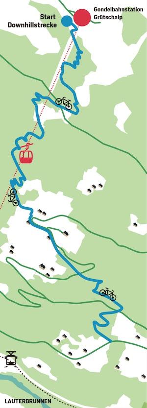 Die geplante Freeride-Strecke soll von 1486 Meter über Meer hinunter nach Lauterbrunnen führen.
