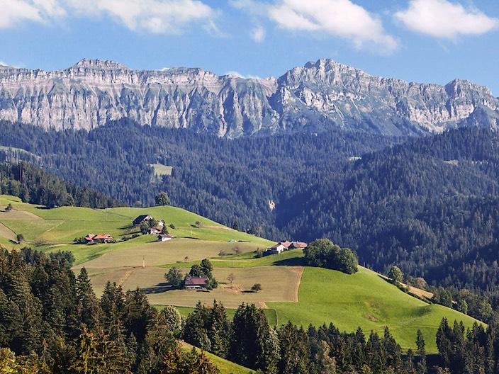Zwischen dem Hohgant-Massiv (im Bild) und dem Niederhorn soll das grösste Waldreservat des Kantons Bern entstehen.
