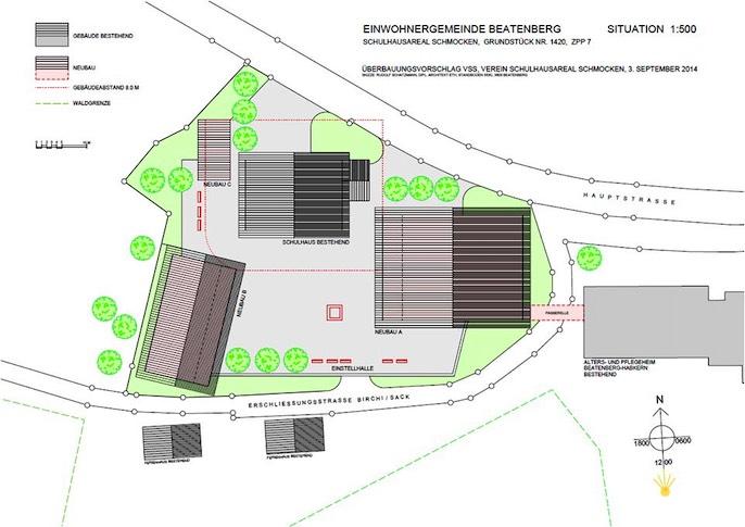 Vorgesehen sind neben dem bestehenden Schulhaus auch zwei Neubauten.