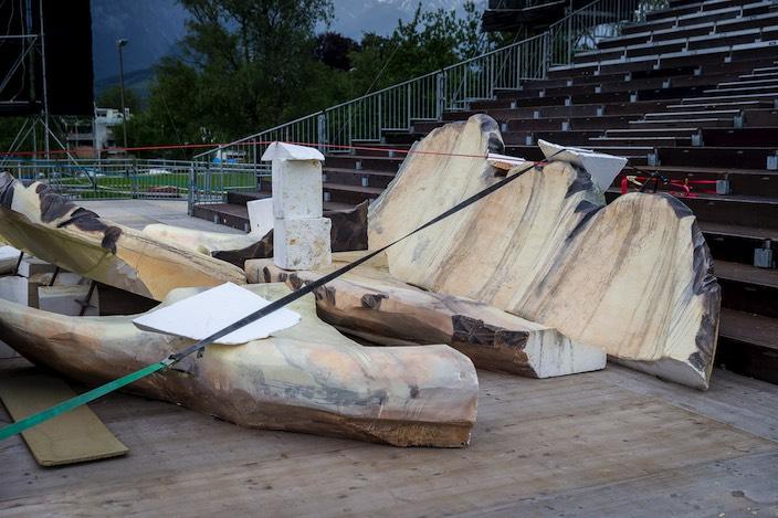Das Herzstück der diesjährigen Seebühne ist aus dreissig Blöcken Styropor hergestellt.