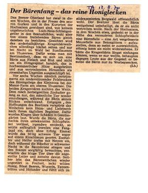 Nationales mediales Echo: Auch im Tagesanzeiger wurde im August 1970 ein Artikel abgedruckt.