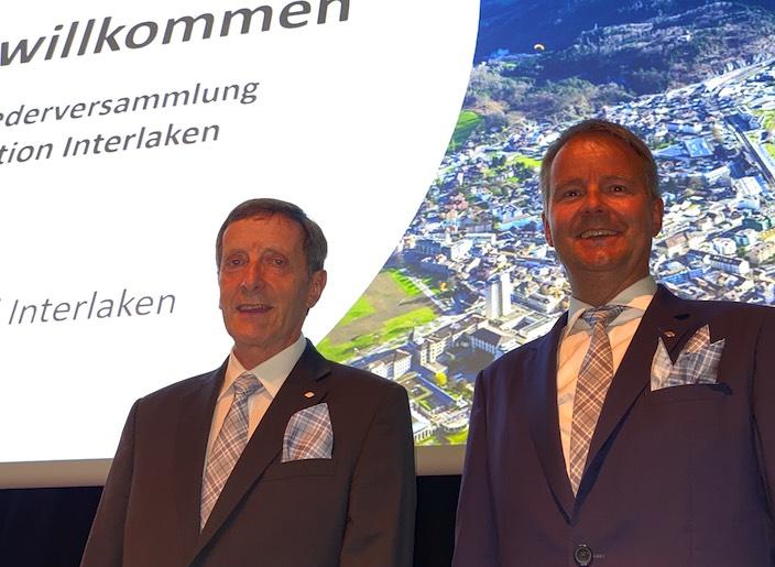Präsident Erich Reuteler (links) und Direktor Daniel Sulzer präsentierten an der Mitgliederversammlung mit berechtigtem Stolz die Rekordzahlen aus dem Jahr 2019.