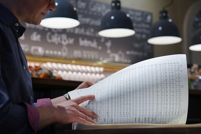 Ein volles Blatt mit Musiknoten regelt, wann welcher Teil des Ensembles seinen Einsatz hat.